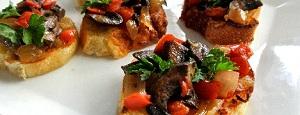 bruschette cu ciuperci si sos de usturoi